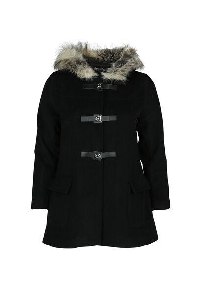 Mantel met bontkap - Zwart