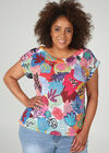 T-shirt in linnentricot met kleurrijke print, Multicolor