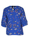 Bloes met bloemenprint, Bic blauw
