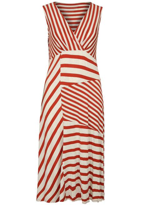 41dca2b23565a4 Lange jurk met een mix van strepen - Oranje - paprika