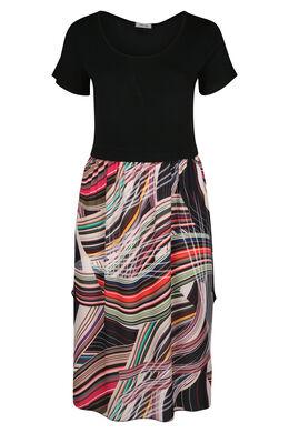 Lange jurk met grafische print, Multicolor