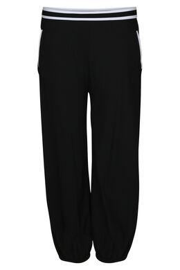 Pantalon effet boule détails bandes élastiquées, Noir