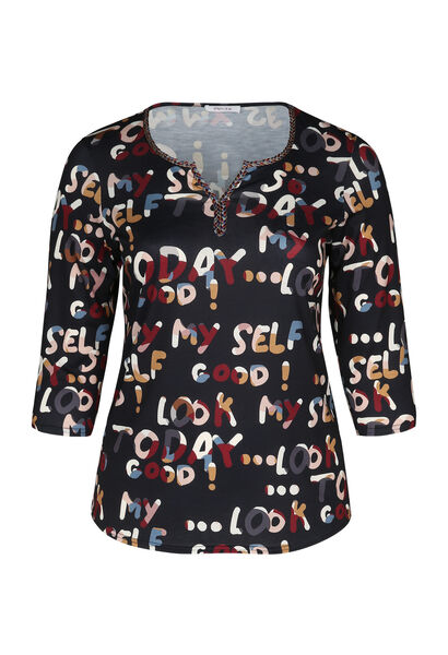 T-shirt in tricot met letters - Multicolor