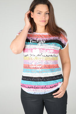 T-shirt en lin imprimé, Blanc