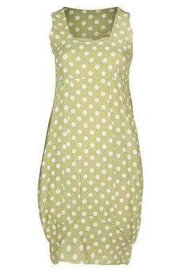 middenlange jurk in linnen met stippen, Olijfgroen