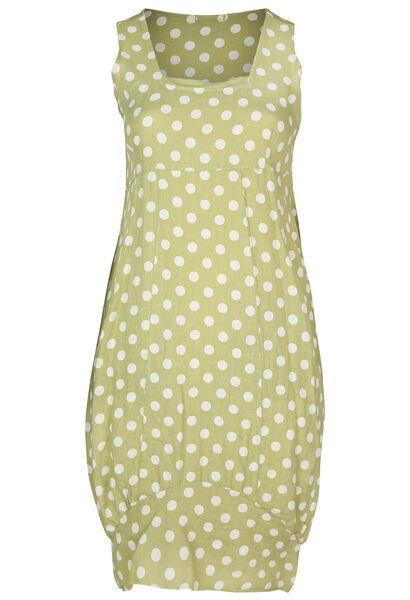 Robe mi-longue en lin imprimé pois - Vert Olive