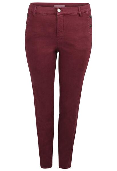 Pantalon coton stretch coupe slim détails boutons - Prune
