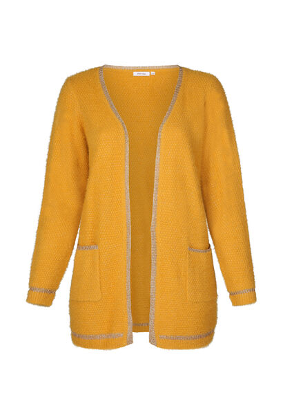 Long gilet maille lurex - Ocre