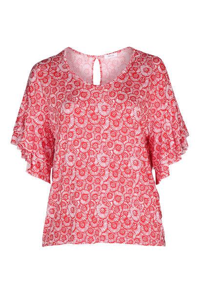 T-shirt met gomprint van rozetjes - Rood