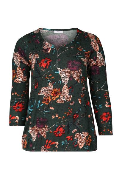 T-shirt met bloemenprint - Groen