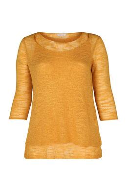 Dubbele trui in licht tricot, Oker