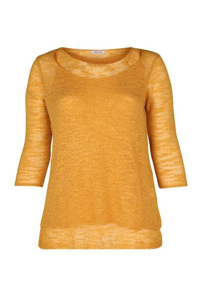 Dubbele trui in licht tricot - Oker