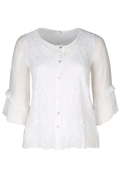 Blouse manches 3/4 broderies - Blanc