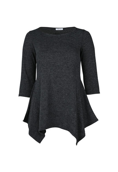 Tuniek-T-shirt in warm tricot - Antraciet