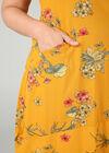 Lange jurk met opbollend effect en bloemenprint, Oker