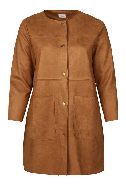 Manteau long en suédine unie - Camel
