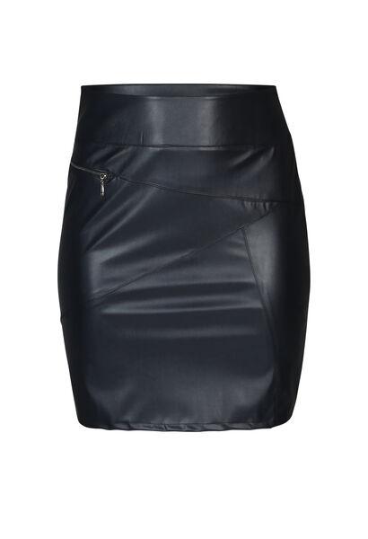 Jupe faux cuir avec zip - Marine