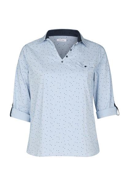 Gestreepte bloes met geflockte stippen - Marineblauw