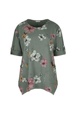 Tunique t-shirt maille sweat imprimé fleuri, Kaki