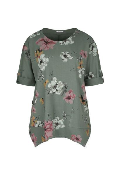 Tunique t-shirt maille sweat imprimé fleuri - Kaki