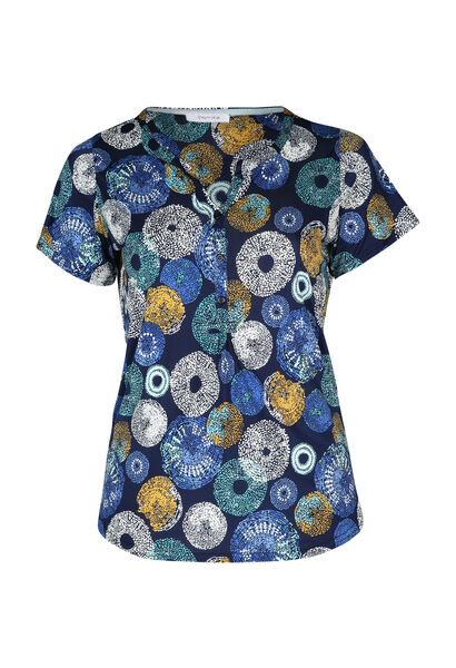T-shirt maille froide imprimé ronds - Bleu Bic