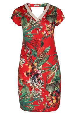 Jurk in tricot met tropische print, Rood