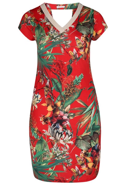 Robe maille froide imprimé tropical - Rouge