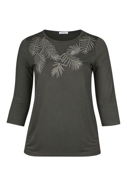 T-shirt feuilles brodées - Kaki