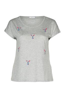 T-shirt brodé d'oiseaux, Gris Chine