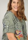 Linnen blouse met barokprint, Kaki