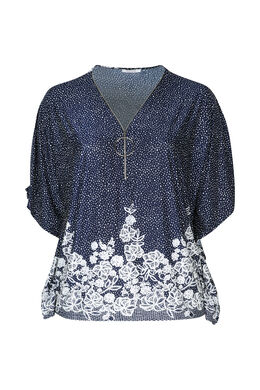 T-shirt poncho maille froide avec zip, Marine