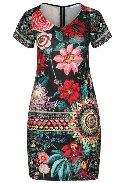 Jurk met bloemenprint en strassteentjes - Multicolor