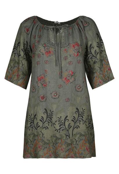 Linnen jurk met bloemenprint - Kaki