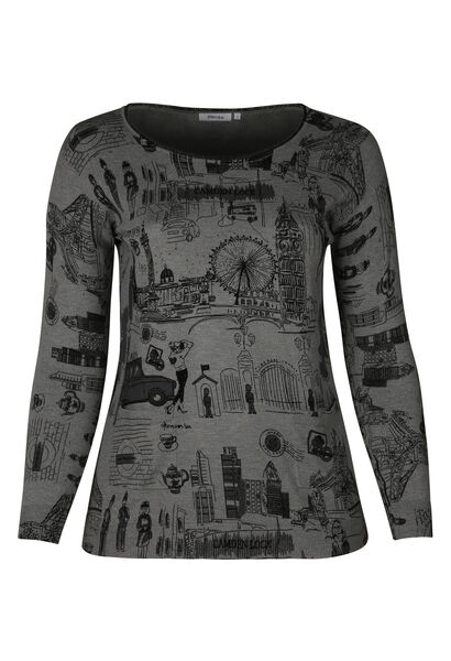 Pull tunique imprimé London - Gris