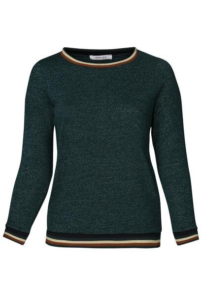 Trui met sportswear-stroken - Emerald groen
