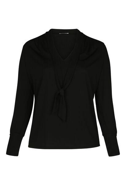 T-shirt maille unie col cravate - Noir