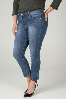 Jeans slim 7/8 détails perles, Denim