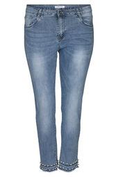 Pantacourt en jeans détails perles