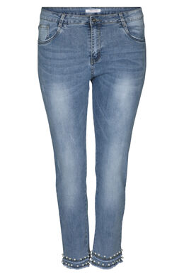 Kuitbroek in jeans met kralen, Denim