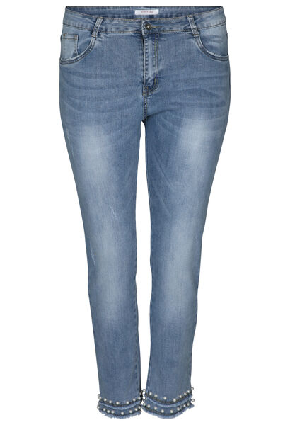 Kuitbroek in jeans met kralen - Denim