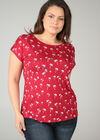 Katoenen T-shirt met palmprint, Rood