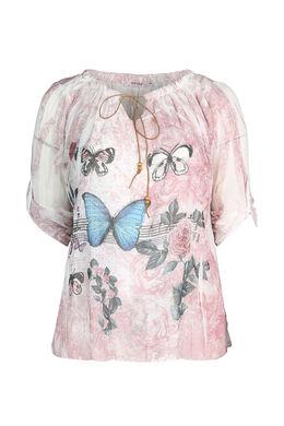 Blouse imprimé de papillons, Rose