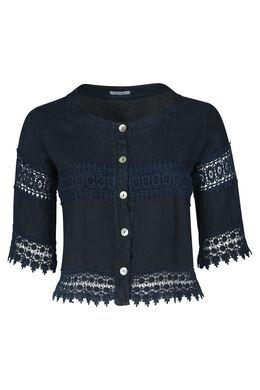 Kort jasje in linnen met borduurwerk, Marineblauw