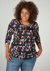T-shirt in tricot met letters, Multicolor