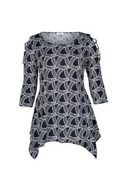 Tuniek in tricot met gomprint, Marineblauw