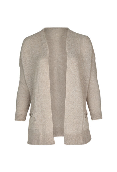 Cardigan long maille chinée - Beige