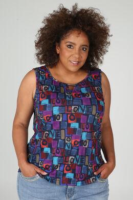 T-shirt met gekleurde print 'Love', Marineblauw