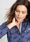 Katoenen hemd met streepjes en bloemenprint, Marineblauw