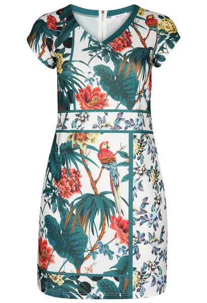 Robe maille imprimé tropical et perroquets - Blanc