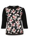 T-shirt in twee stoffen met bloemenprint, Zwart